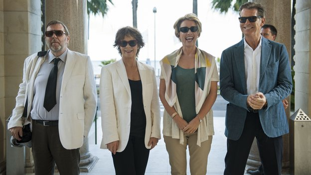 Timothy Spall, Celia Imrie, Emma Thompson and Pierce Brosnon in The Love Punch