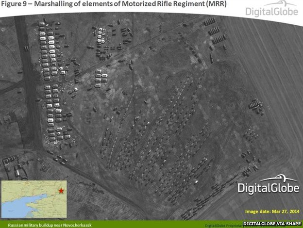 This satellite image from 27 March 2014 appears to show the marshalling of elements of Motorised Rifle Regiment (MRR) near Novocherkassk, Russia