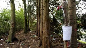 Note taped to tree