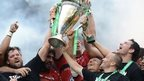 Toulon's players, including Jonny Wilkinson, celebrate winning the 2013 Heineken Cup final