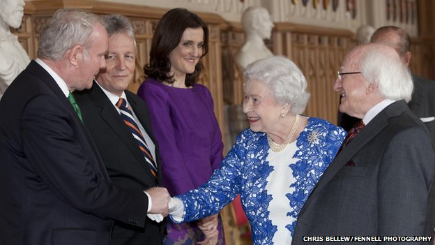 The Queen shook hands with Sinn Féin's Martin McGuinness and other politicians from Northern Ireland at Thursday's reception