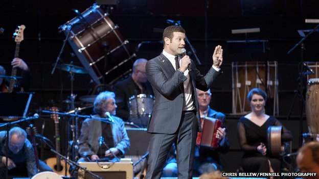 Dermot O'Leary on stage