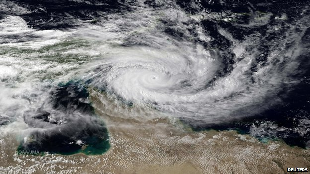 Category 5 Tropical Cyclone Ita is seen approaching the far north Queensland coast of Australia, in this NOAA satellite image taken by JMA/MTSAT at 05:30 GMT on 10 April 2014