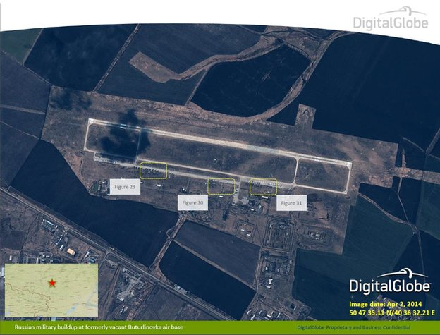 Russian military build dup at formerly vacant Buturlinovka air base taken on 2 April 2014
