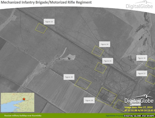 Satellite image taken on 27 March 2014 showing Russian military build-up near Kuzminka