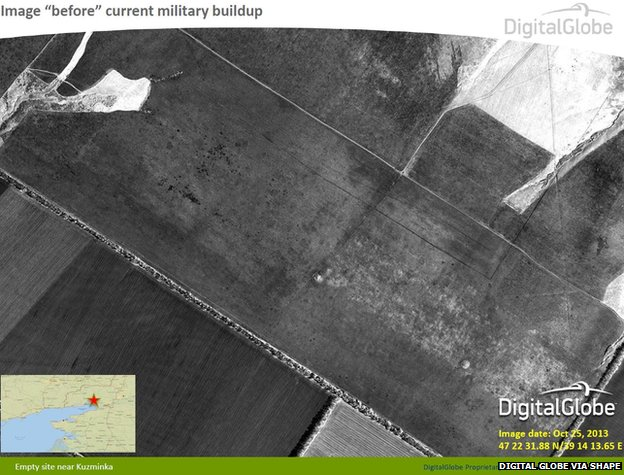Satellite photo taken on 25 October shows empty site near Kuzminka