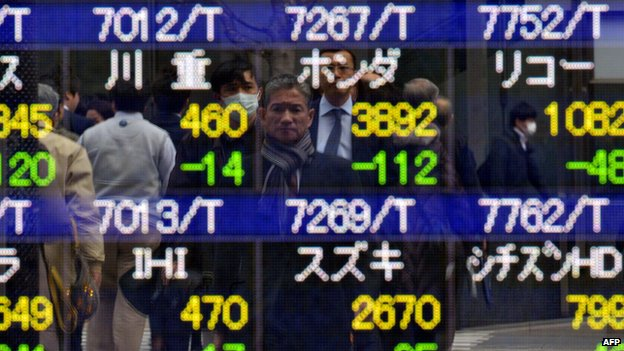 Tokyo stocks price display