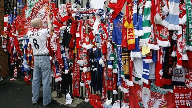 Scarves tied to the Shankly Gates at Liverpool