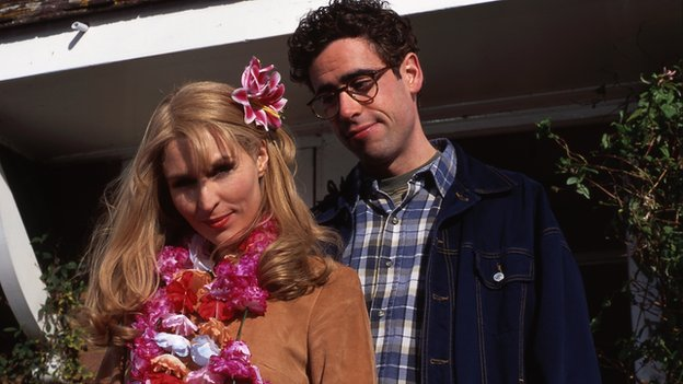 Helen Baxendale and Stephen Mangan in Adrian Mole The Cappuccino Years