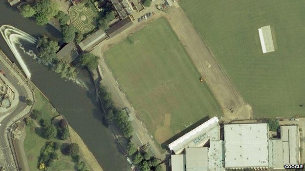 Aerial view of The Rec, home of Bath Rugby