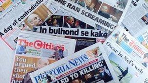 South Africa's newspaper headlines