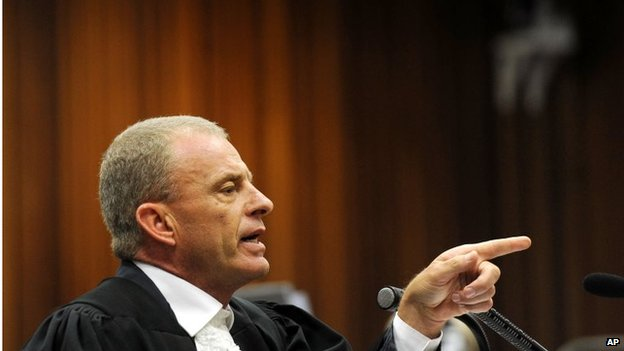 State prosecutor Gerrie Nel during cross questioning of Oscar Pistorius on 10 April