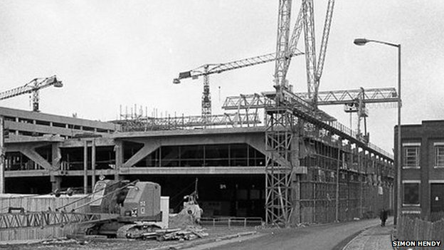 Construction of Northampton Greyfriars Bus Station 1975