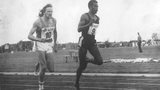 Anthony Davis, right, winning a 200m race in Finland in 1978