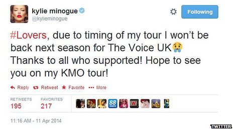 Kylie Minogue tweets that she is leaving The Voice