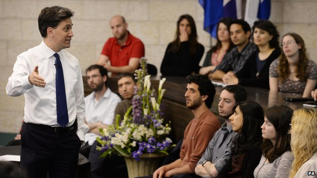 Ed Miliband holds a Q^A with students at The Hebrew University of Jerusalem in the Israeli capital, Jerusalem. PRESS ASSOCIATION Photo. Picture date: Thursday April 10, 2014