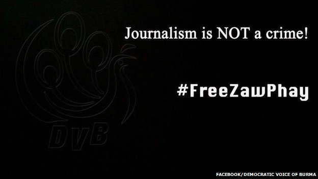 "Democratic Voice of Burma's Facebook cover page reads ""Journalism is not a crime! #FreeZawPhay"""