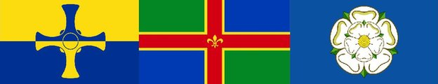 Flags for County Durham, Lincolnshire and Yorkshire
