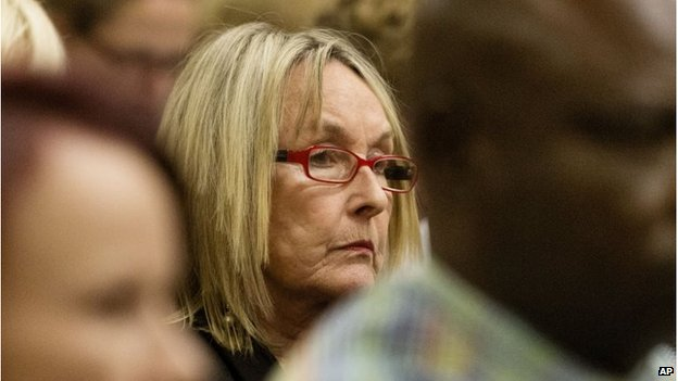 June Steenkamp staring ahead in court