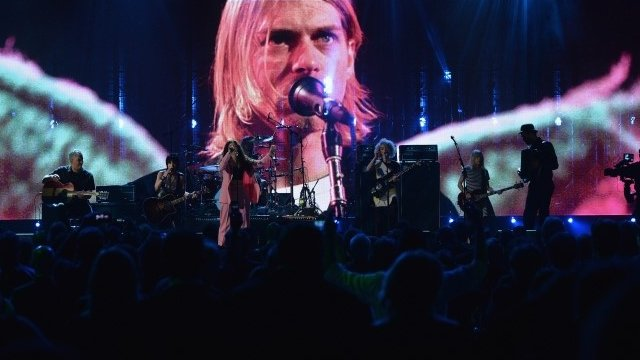 Pat Smear, Joan Jett, Lorde, Dave Grohl, St. Vincent, Kim Gordon and Krist Novoselic perform at the Rock and Roll Hall of Fame