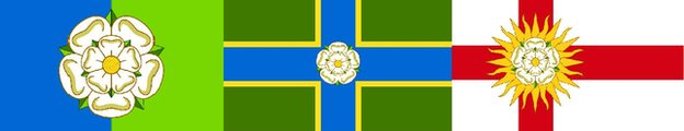 County flags for Yorkshire's East Riding, North Riding and West Riding