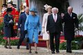Queen Elizabeth II walks with (left to right) Duchess of Cornwall, Prince Charles, Sabina Higgins, Michael D Higgins and Prince Philip at Windsor Castle