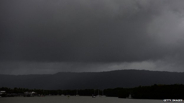 Dark clouds are seen above Port Douglas before Tropical Cyclone Ita makes landfall later in Port Douglas, Australia, 11 April 2014