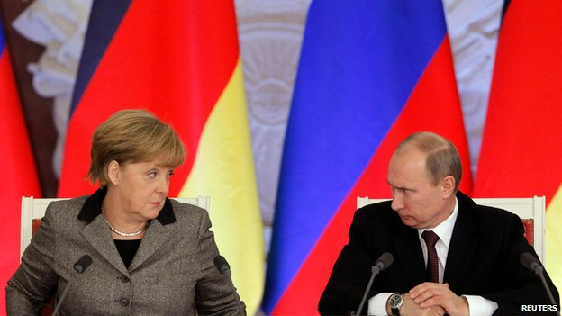 File photo of German Chancellor Angela Merkel and Russian President Vladimir Putin