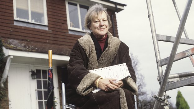 Sue Townsend on the set of the TV series of The Cappuccino Years,