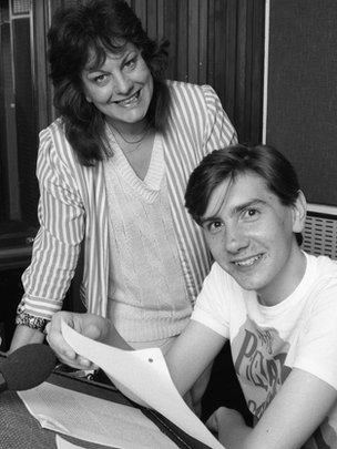Sue Townsend with actor Nicholas Barnes in 1985, who played Adrian Mole in a radio version