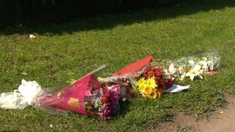Flowers at the scene of the accident