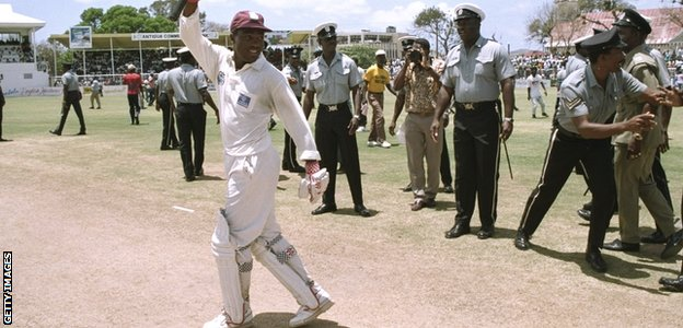West Indies batsman Brian Lara celebrates world record 375