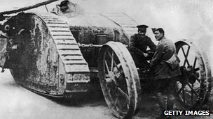 A British tank in WW1