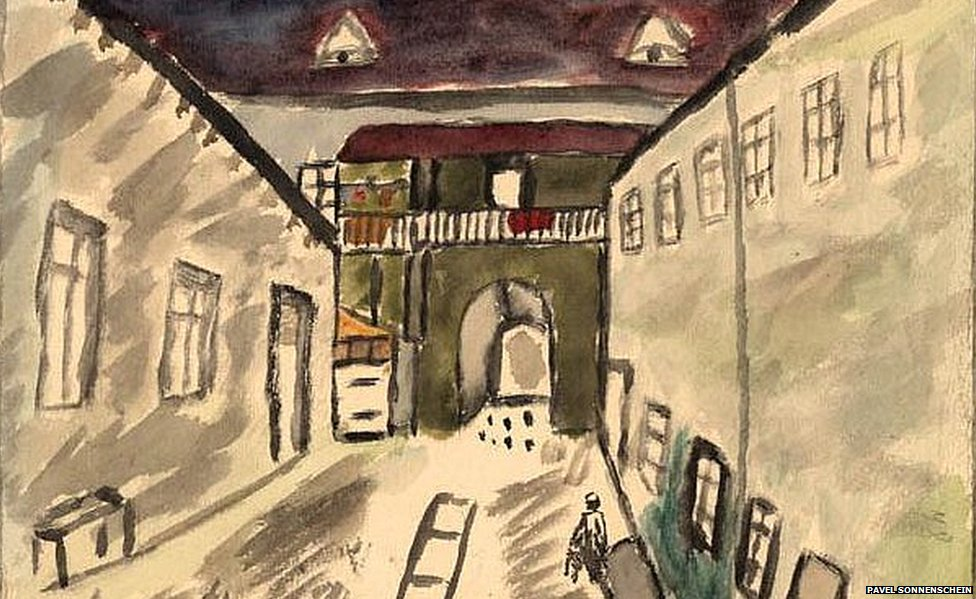 A Courtyard in the Ghetto by Pavel Sonnenschein