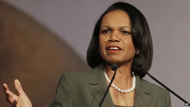 Condoleezza Rice gestures while speaking at the California Republican Party 2014 Spring Convention