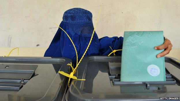 Afghan woman in burqa casting vote in election