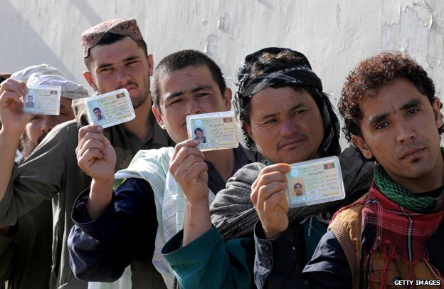 Afghan men holding up ID cards