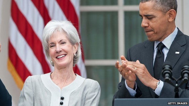 Kathleen Sebelius smiles in a Rose Garden ceremony on 11 April, 2014, announcing her resignation as secretary of health and human services.
