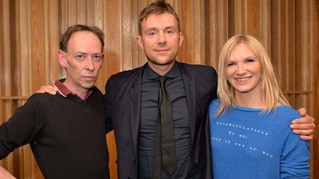Steve Lamacq, Damon Albarn and Jo Whiley