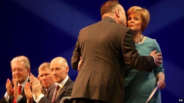 Alex Salmond greets Nicola Sturgeon ahead of her Aberdeen conference speech