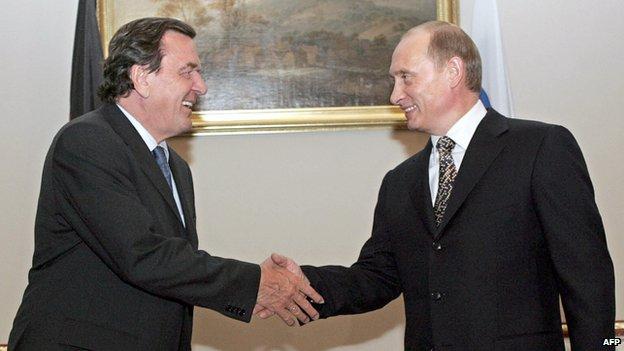 Gerhard Schroeder and Vladimir Putin
