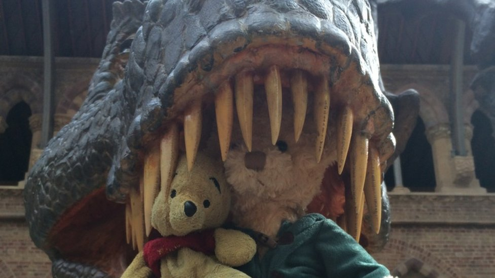 Barney and Pooh in the jaws of a T-Rex. Photo: Jason Sammut