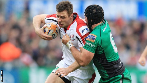 Tommy Bowe of Ulster is tackled by Connacht's John Muldoon
