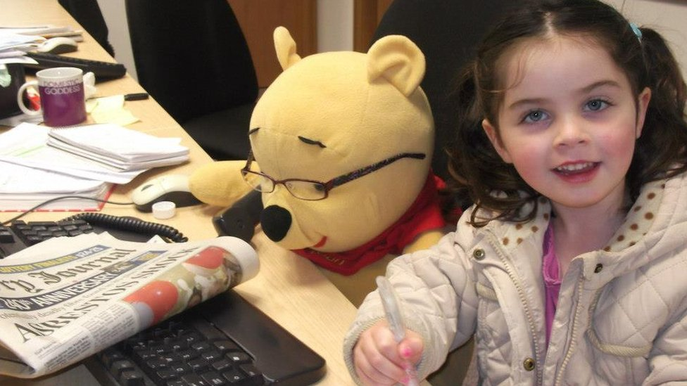 Pooh bear working at the local newspaper. Photo: Claire Allen