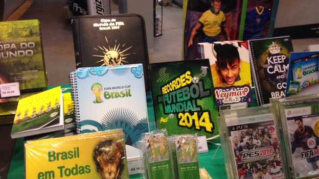 World Cup goods in Sao Paulo shop