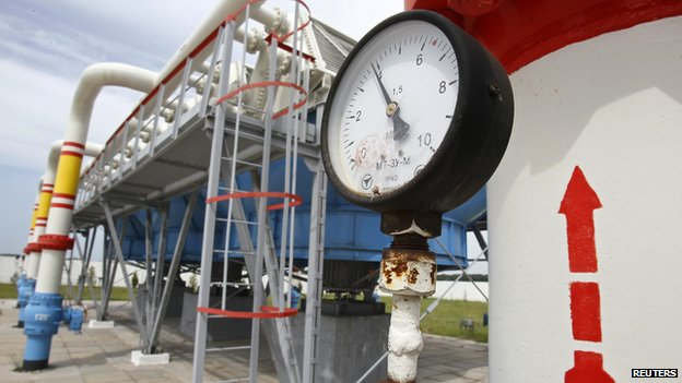 A pressure gauge at an underground gas storage facility in the village of Mryn, 120 km (75 miles) north of Kiev taken on 21 May 2013