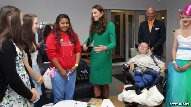 The Duchess of Cambridge talking to youngsters