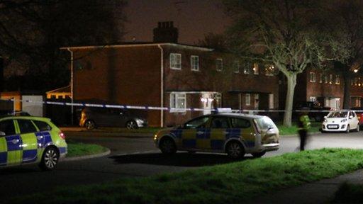 Police at the scene in Stone