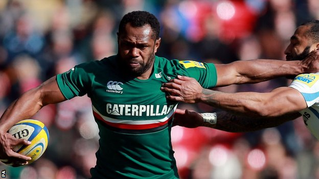 Vereniki Goneva playing for Leicester Tigers vs Exeter Chiefs
