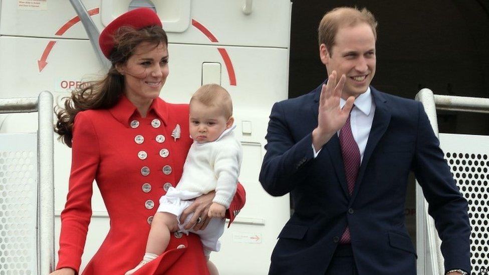 Duke and Duchess of Cambridge and Prince George arrive at Wellington Airport